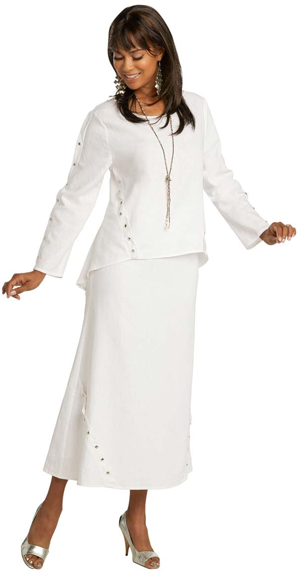 Lisa Rene 3359-White - Ladies Hi-Lo Linen Tunic And Skirt Set With Stud Trims