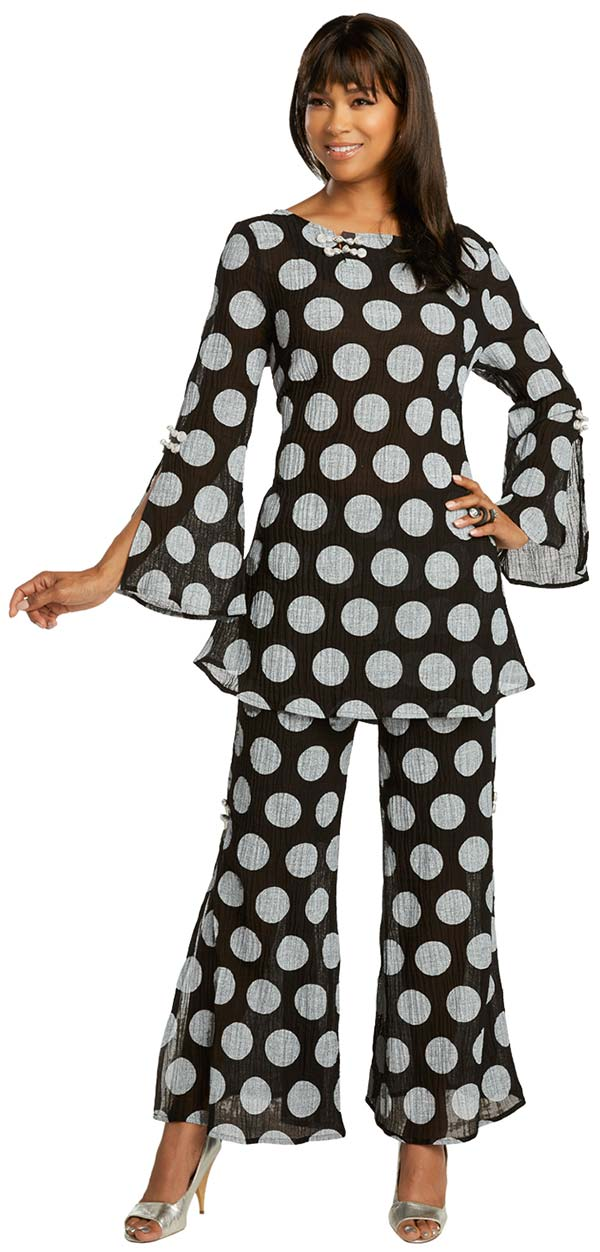 Lisa Rene 3360 - Womens Polka Dot Linen Tunic And Pant Suit With Flared Hemlines And Cuffs