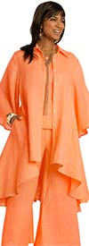Lisa Rene 3361-Tangerine - Womens Hi-Lo Linen Tunic And Pant  Set With Wide Bell Sleeves