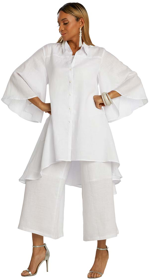 Lisa Rene 3361-White - Womens Hi-Lo Linen Tunic And Pant  Set With Wide Bell Sleeves