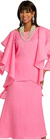 Lisa Rene 3362-Pink - Womens Hi-Lo Linen Tunic And Skirt  Set With Over Shoulder Ruffle Detail