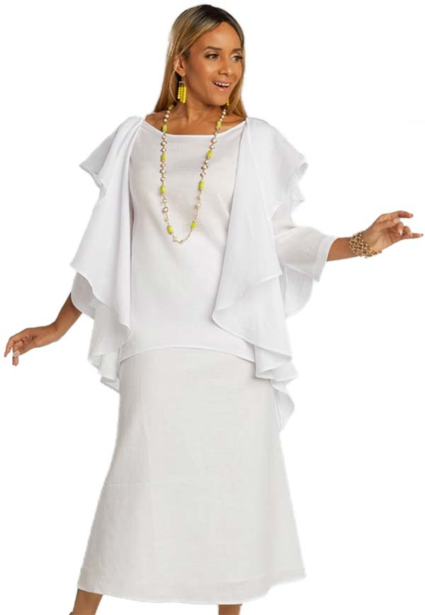 Lisa Rene 3362-White - Womens Hi-Lo Linen Tunic And Skirt Set With Over Shoulder Ruffle Detail