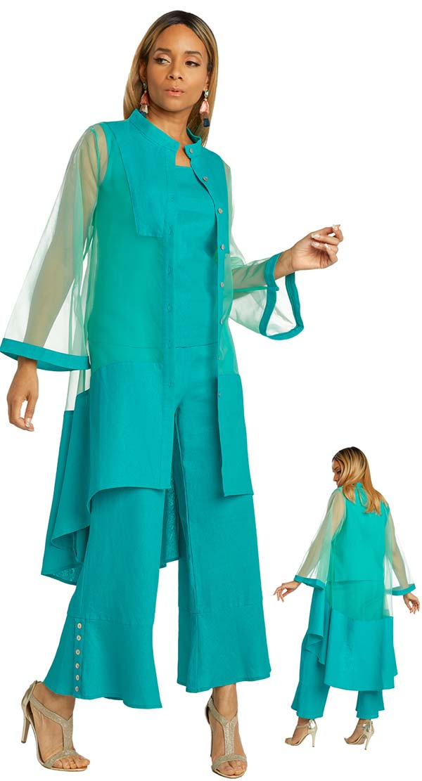 Lisa Rene 3363-Teal - Womens Hi-Lo Linen Tunic And Pant Set With Organza Detail