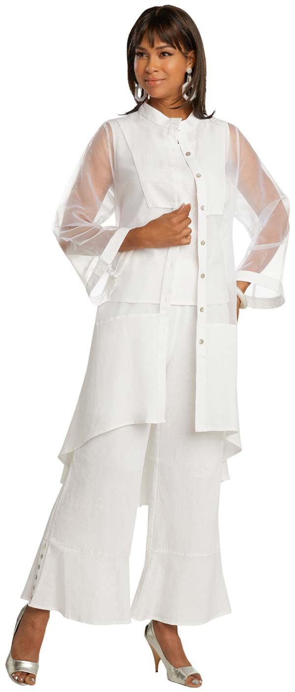 Lisa Rene 3363-White - Womens Hi-Lo Linen Tunic And Pant Set With Organza Detail