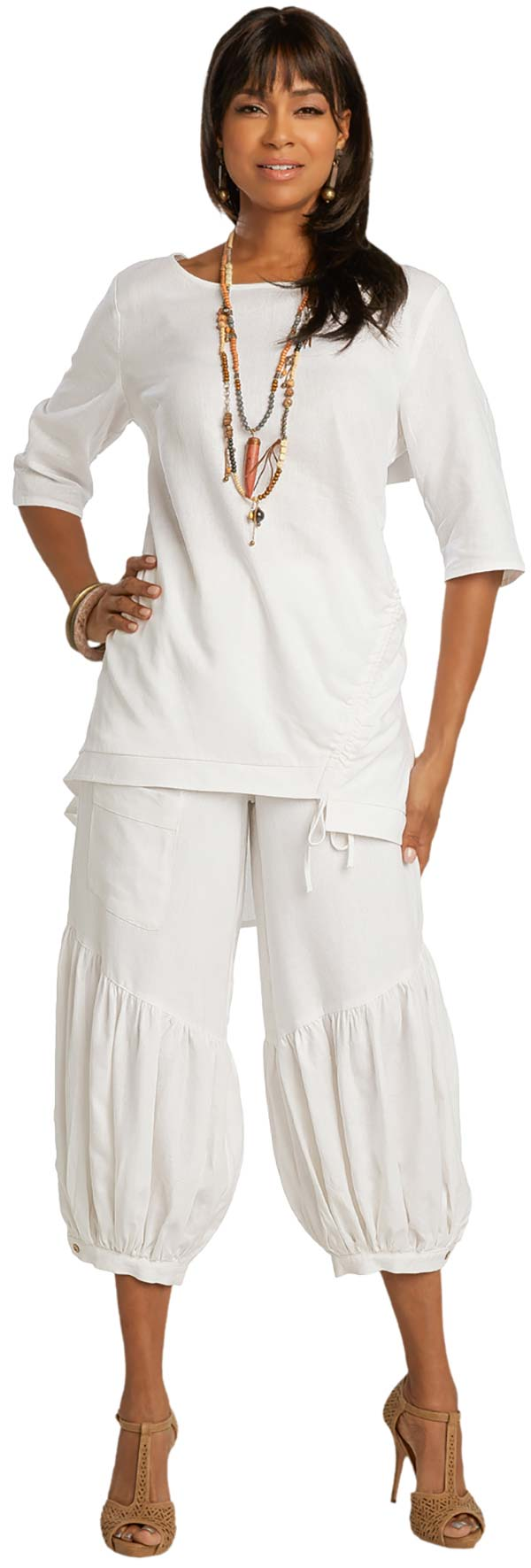 Lisa Rene 3364-White - Womens Hi-Lo Linen Tunic And Pleated Puff Pant Set