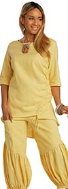 Lisa Rene 3364-Yellow - Womens Hi-Lo Linen Tunic And Pleated Puff Pant Set