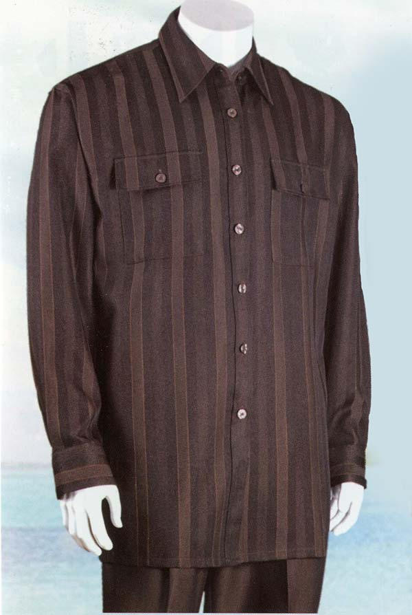 Longstry Longstry M2761-Brown - Long Sleeve Walking Suit For Men