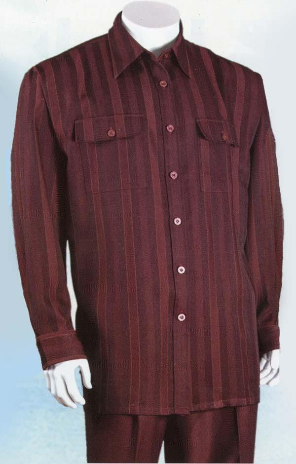 Longstry Longstry M2761-Burgundy - Long Sleeve Walking Suit For Men