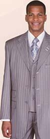 Longstry New York 5267V Mens Fancy Stripe Design Suit With Ticket Pockets