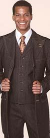 Longstry New York 5285V Mens Three Piece Denim Suit