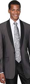 Longstry New York 5601-Black - One Button Shark Skin Mens Slim Suit