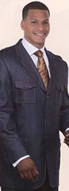 Longstry New York 5606 Mens Denim Look Suit With Wool Feel