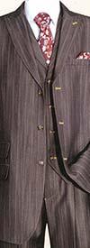 Longstry New York 5609V - Mens Three Piece Denim Look Suit