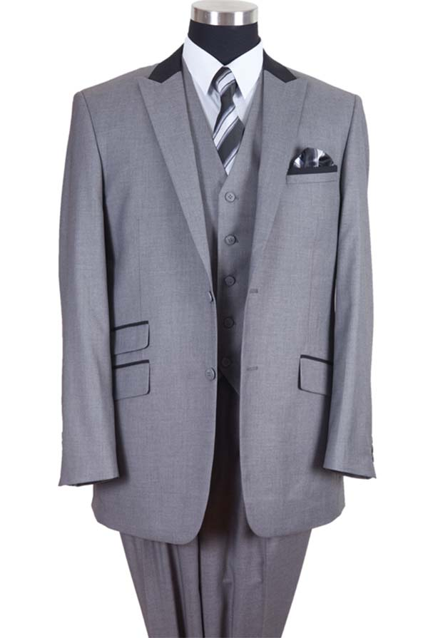 Longstry New York 57023-GrayBlack - Two Button Mens Suit With Ticket Pocket
