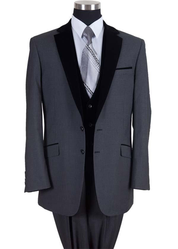 Longstry New York 57024-Black - Two Button Mens Suit With Velvet Lapel & Vest