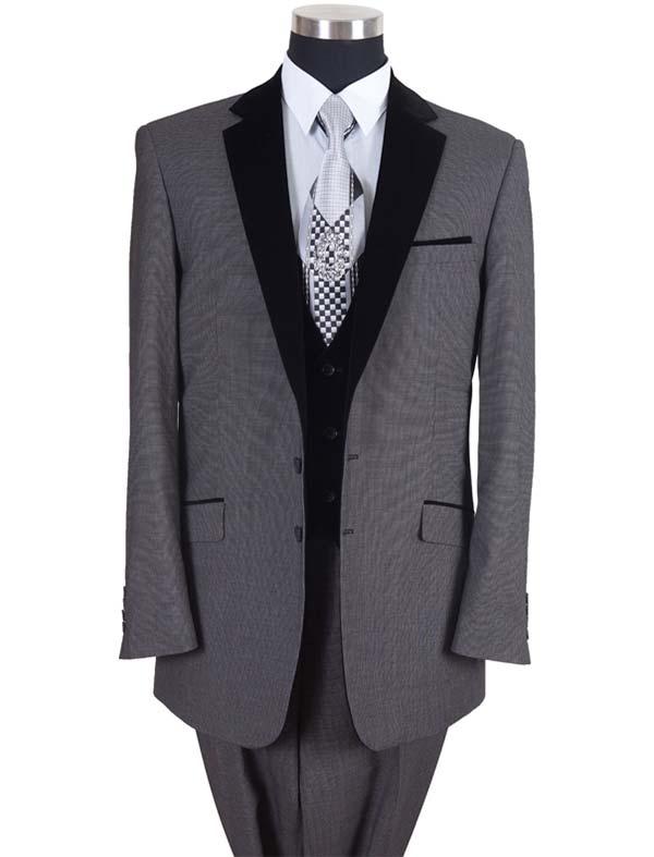 Longstry New York 57024-Gray - Two Button Mens Suit With Velvet Lapel & Vest