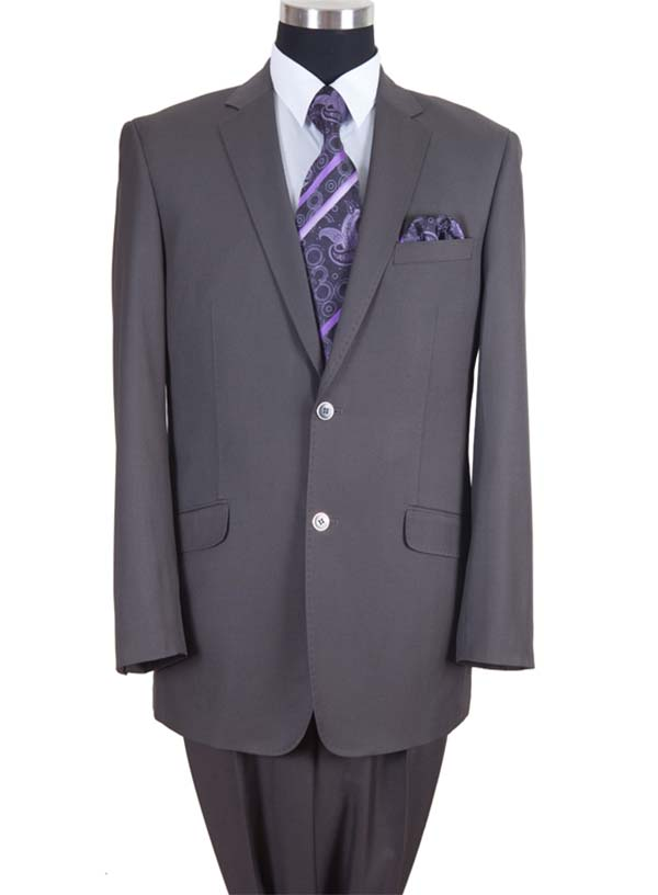 Longstry New York 57026-Gray - Two Button Wool Feel Mens Suit