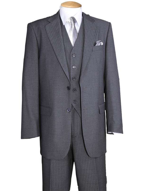 Longstry New York 5702V3-Gray - Tone On Tone Striped Mens Three Piece Suit