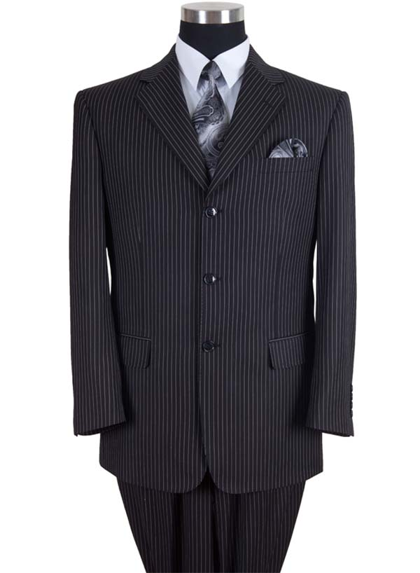 Longstry New York 58021-Black - High Fashion Fancy Striped Mens Suit