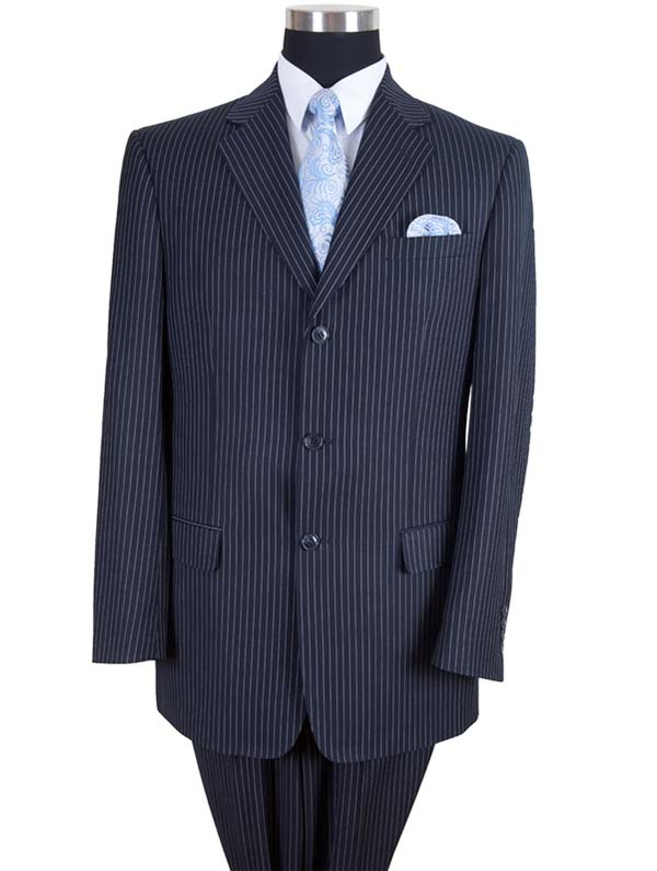 Longstry New York 58021-Navy - High Fashion Fancy Striped Mens Suit