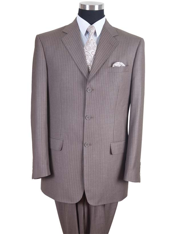 Longstry New York 58021-Tan - High Fashion Fancy Striped Mens Suit
