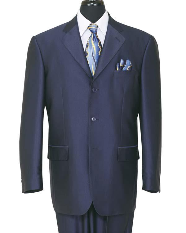 Longstry New York 58025-Navy - Shark Skin Look Poly-Rayon Super Wool Feel Mens Suit