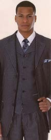 Clearance Longstry New York 5802V5 Three Piece Pencil Stripe Suit For Men