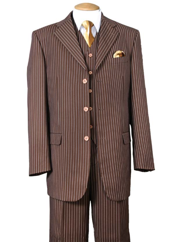 Longstry New York 5802V7-Brown - Striped Mens Three Piece Suit