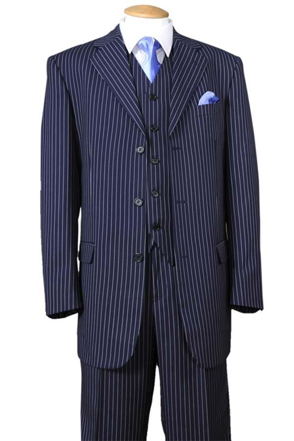 Longstry New York 5802V7-Navy - Striped Mens Three Piece Suit