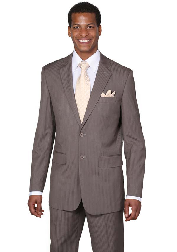 Longstry New York JL5702K-Brown - Two Button Slim Fit Suit For Men