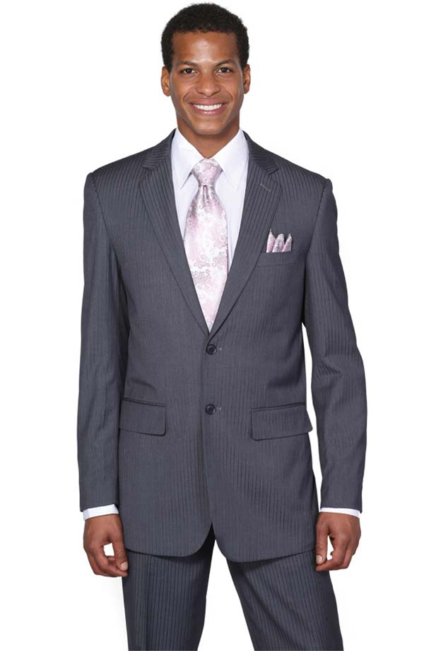 Longstry New York JL5702K-Charcoal - Two Button Slim Fit Suit For Men