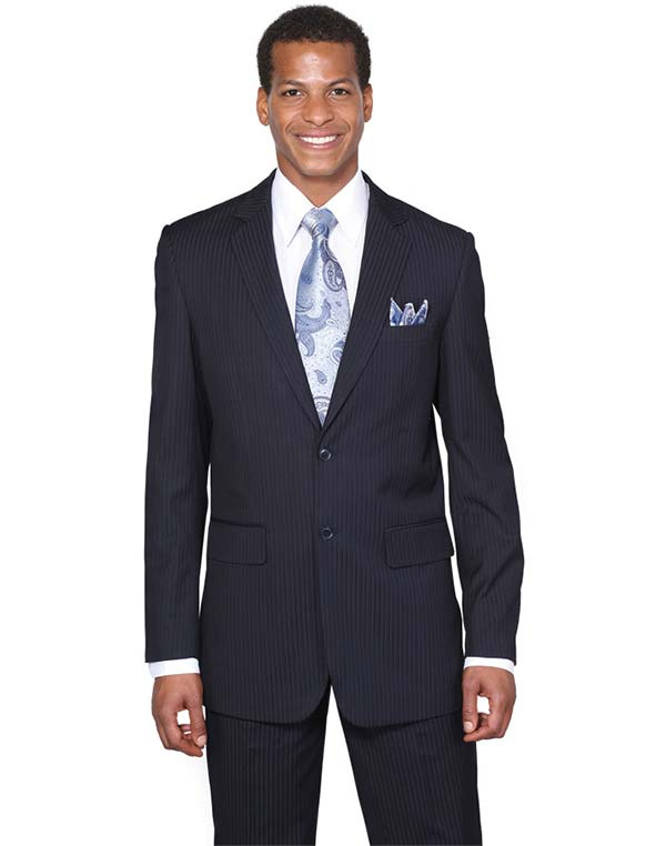 Longstry New York JL5702K-Navy - Two Button Slim Fit Suit For Men