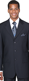 Longstry New York JL5802-Black - Threee Button Church Suit For Men