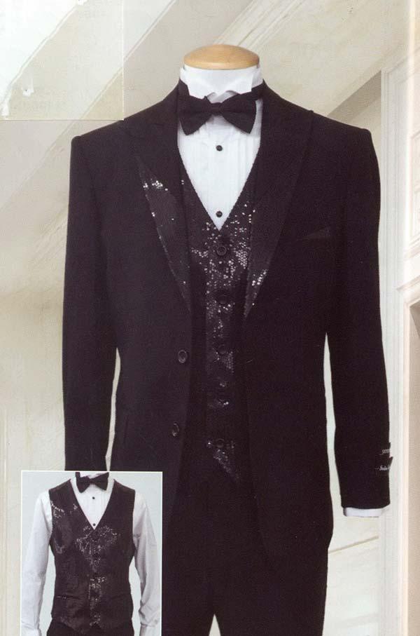 Longstry New York T713 Mens Super Wool Feel Three Piece Tuxedo