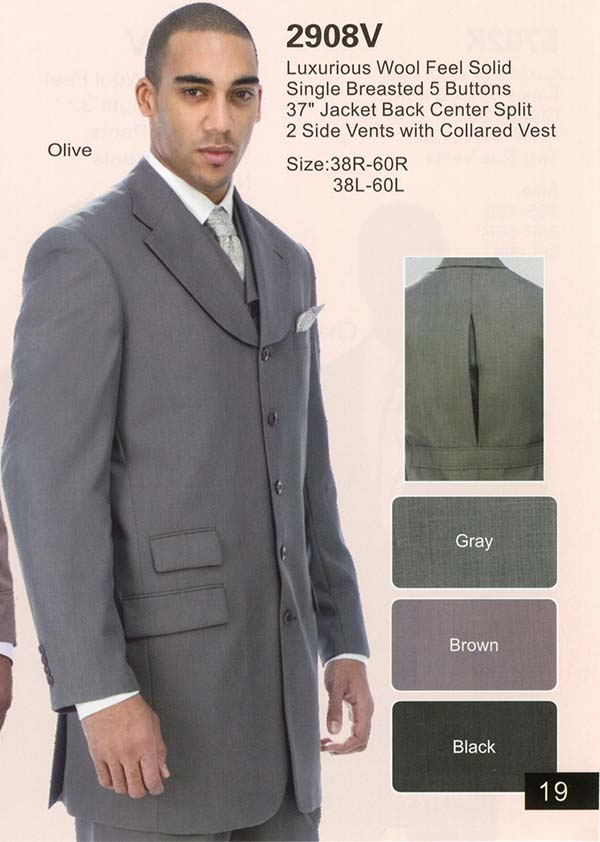 Longstry New York 2908V Mens Five Button Suit With Long Jacket