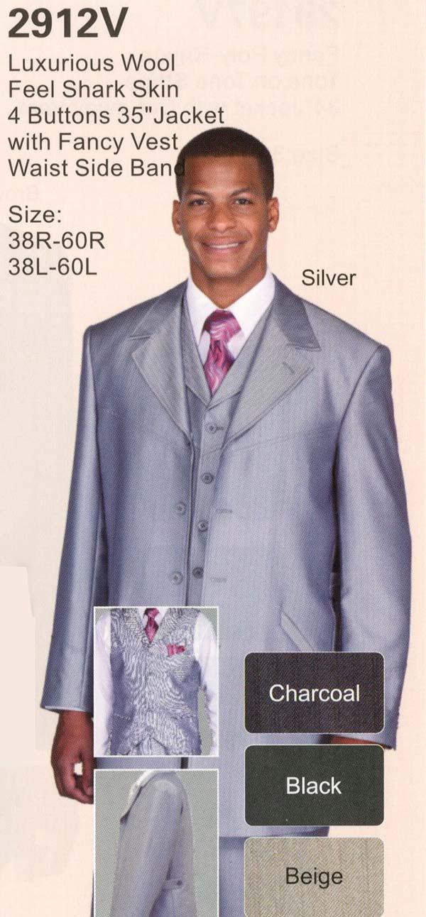 Longstry New York 2912V Mens Wool Feel Four Button Shark Skin Suit