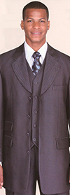 Longstry New York 2913V Mens Three Piece Wool Feel Shark Skin Suit
