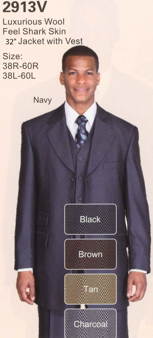 Longstry New York 2913V Mens Three Piece Wool Feel Shark Skin Suit