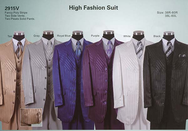 Longstry New York 2915V Mens Fancy Poly Stripe Three Piece Suit