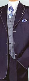 Longstry New York 2916V - Mens Three Piece Suit With Plaid Vest