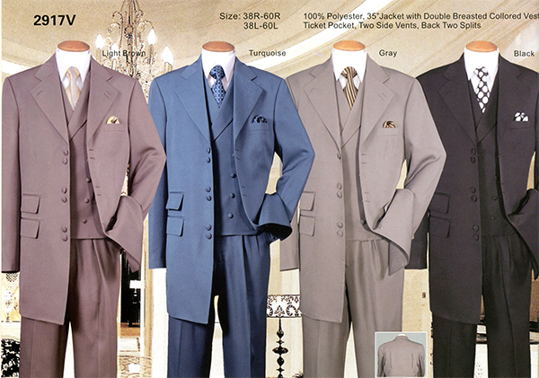 Longstry New York 2917V - Mens Three Piece Suit With Double Breasted Vest