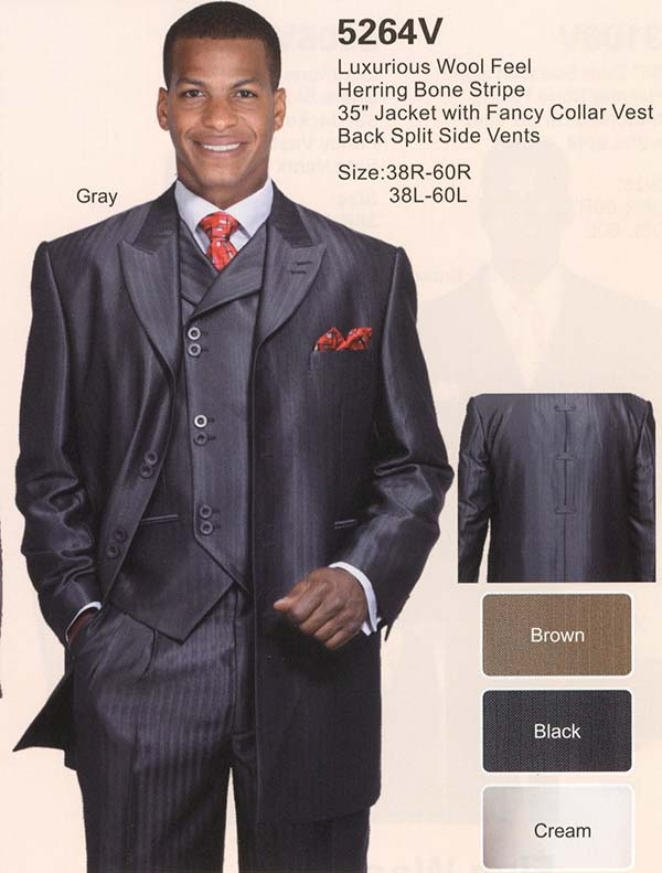 Longstry New York 5264V Mens Suit With Herring Bone Stripe