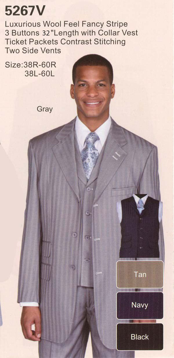 Longstry New York 5267V Mens Fancy Stripe Design Suit With Ticket Pockets