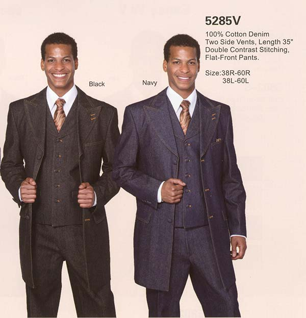 Longstry New York 5285V Mens Three Piece Denim Suit