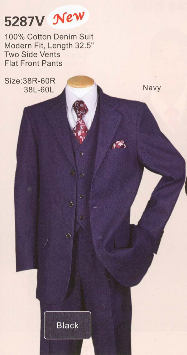 Longstry New York 5287V - Mens Three Piece Cotton Denim Suit