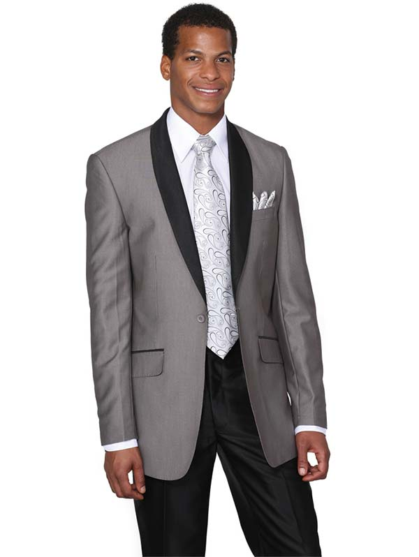 Longstry New York 5601-Gray - One Button Shark Skin Mens Slim Suit