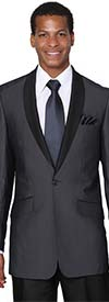 Longstry New York 5601-Navy - One Button Shark Skin Mens Slim Suit
