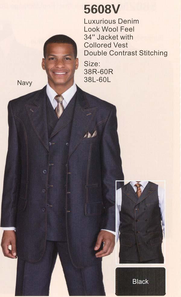 Longstry New York 5608V Mens Three Piece Denim Look Suit