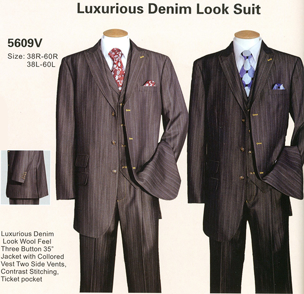 Longstry New York 5609V - Mens Three Piece Denim Look Suit