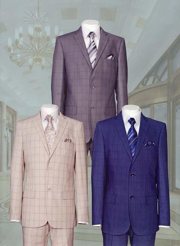 Longstry New York 570203 - Slim Fit Mens Glen Plaid Suit